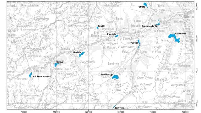 Charta geografica cun ils 11 reservats da guaud en Surselva.