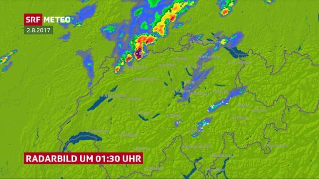 Karte der Schweiz mit Radarbild des Gewitters am Nordrand der Schweiz.