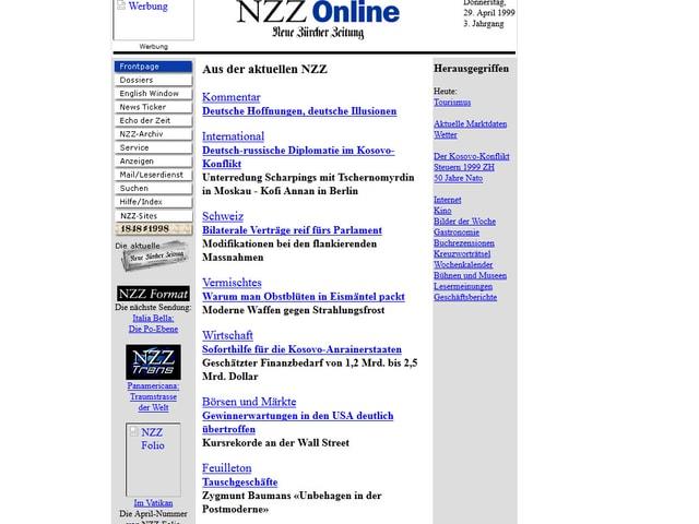 Die alte Seite der NZZ-Online.