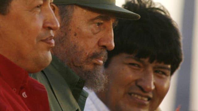 Evo Morales mit Fidel Casto und Hugo Chavez