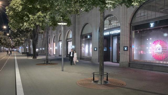 Die Sanierte Bahnhofstrasse bei Nacht in einer Visualisierung des Tiefbauamtes Zürich