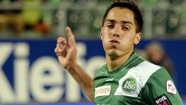 Oscar Scarione traf in der letzten Saison in der Super League 21 Mal für St. Gallen.