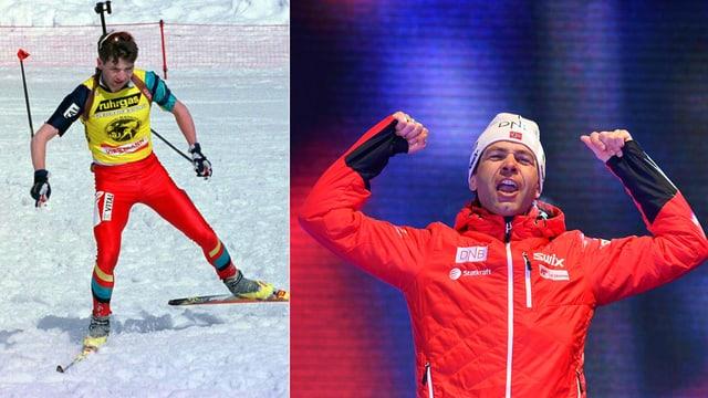 Ole Einar Björndalen 1997 und 2017.