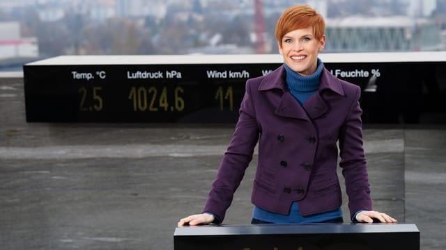 Sandra Bohner auf dem Meteodach