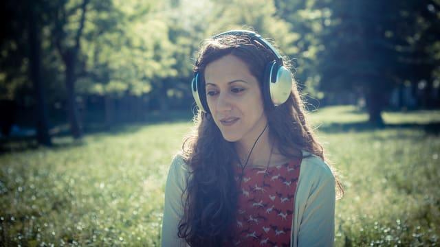 Ein Faru mit Kopfhörern sitzt auf einer Wiese
