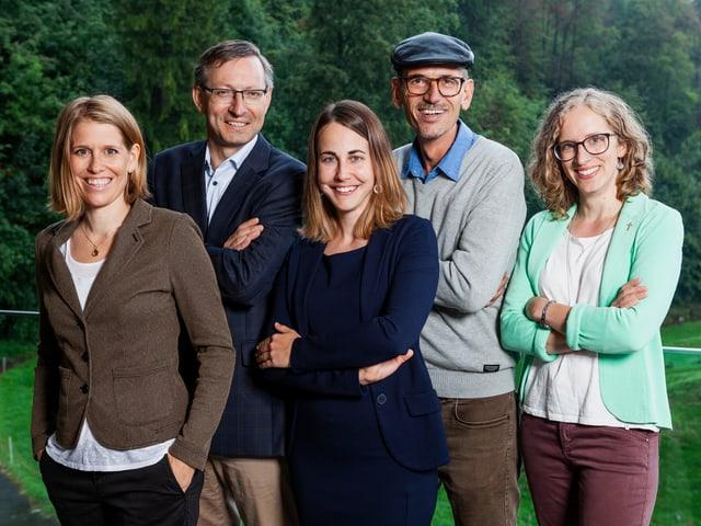 Team-Foto von Nathalie Dürmüller, Urs Corradini, Veronika Jehle, Simon Gebs und Antje Kirchhofer