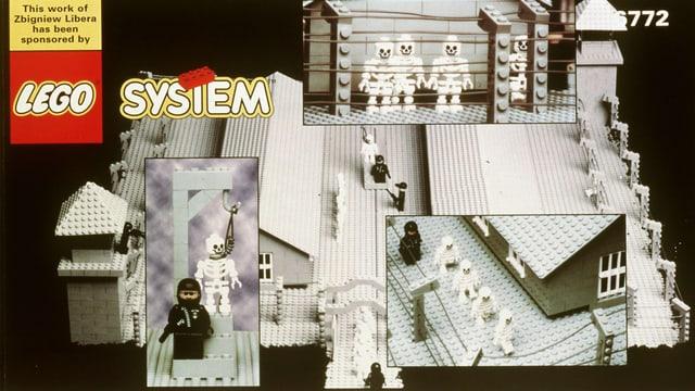 Eine Legoschachtel, die Situationen aus einem Konzentrationslager zeigt.