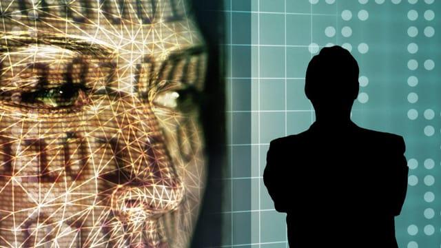 Die schwarze Silhouette eines Mannes steht neben der Projektion eines Frauengesichts.