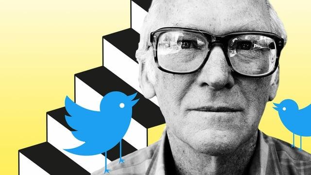 Illu: Ein Mann mit Brille vor einer Treppe, auf dessen Schultern zwei Twitter-Vögel sitzen.