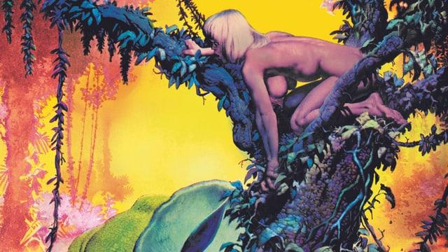 Comic: Eine Frau ist auf einem Baum. Sie ist nackt.