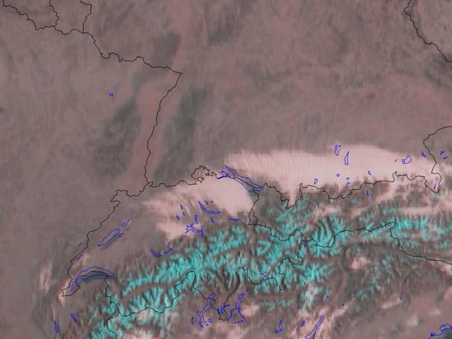 Nebelkanal vom Satellit. Vom westlichen Kanton Bern bis zum Bodensee erstreckt sich das Nebelfeld mit einer Obergrenze von rund 1400 m.
