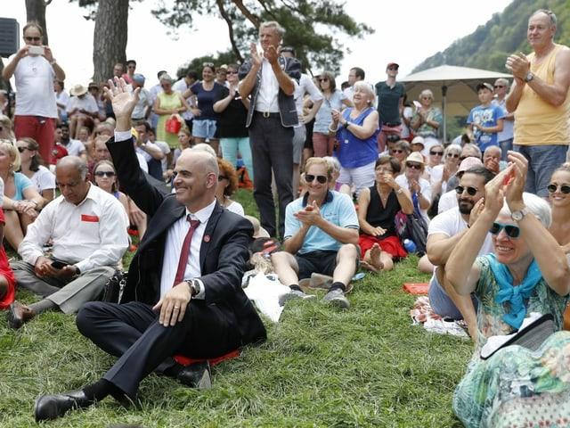 Bundesrat Alain Berset an einer 1. August-Feier auf dem Rütli.