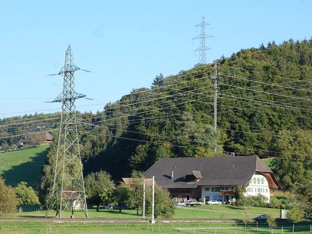 Bauernhaus unter Starkstromleitungen bei Bickigen BE