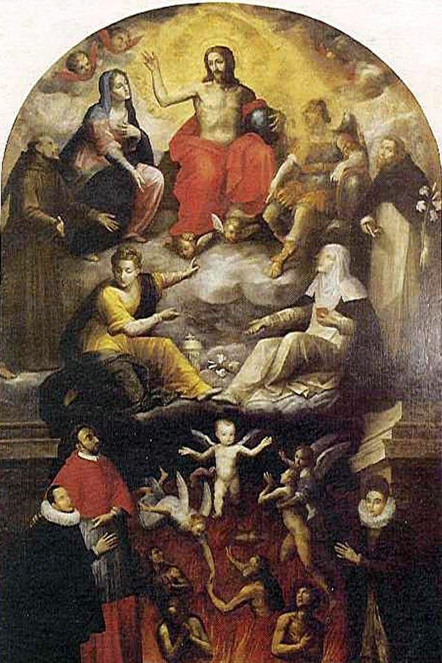 Das Altarbild zeigt Carlo Gesualdo als Büsser, dem vergeben wird.