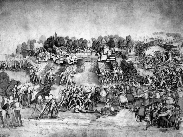 Schwarz-weiss Bild zeigt eine Szene der Kämpfe.