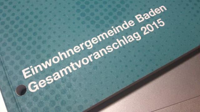 Ausschnitt der Broschüre «Einwohnergemeinde Baden Gesamtvoranschlag 2015»