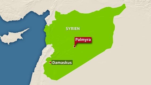 Karte von Syrien mit Palmyra.