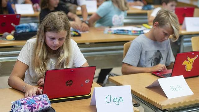 Schülerin und Schüler sitzen vor Laptops