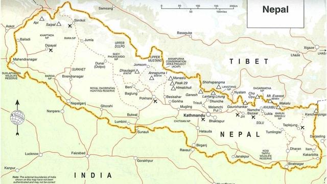 Charta geografica dal Nepal