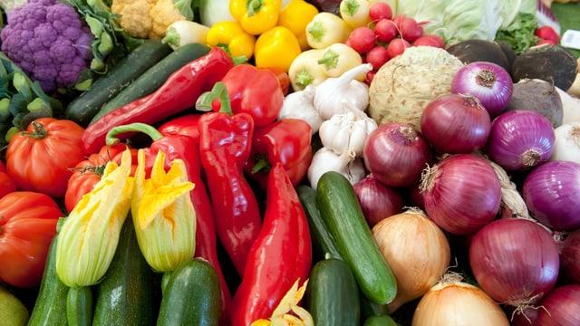 Tomaten, Peperoni, Zwiebeln, Sellerie und anderes Gemüse.