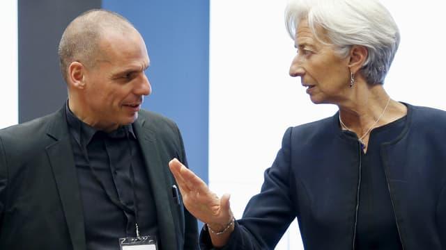 Christine Lagarde im Gespraäch mit Yanis Varoufakis.