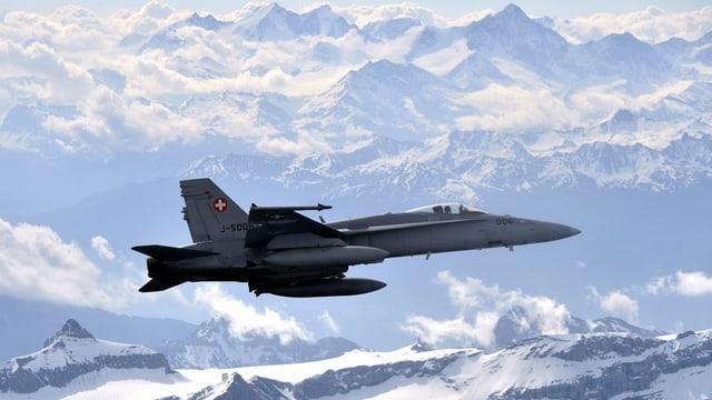 In maletg d'in aviun F/A 18 che sgola