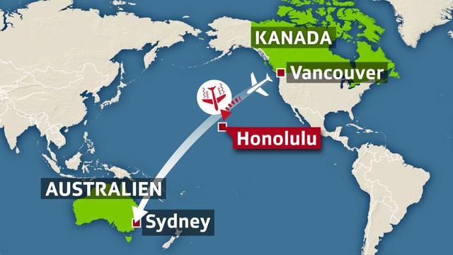 Der Flug AC33 von Vancouver nach Sydney.