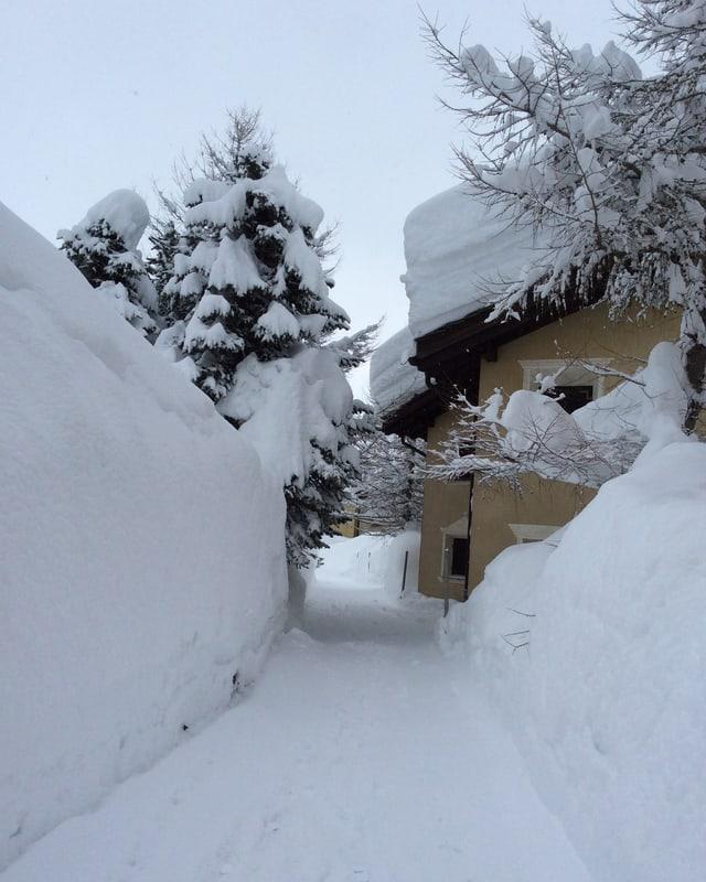 Riesige Schneehaufen an den Strassenrändern von Maloja.