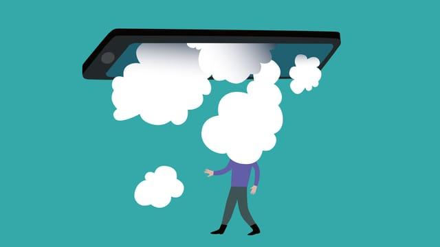 Illustration: Ein Mann steht unter einem Smartphone, Wolken vernebeln seinen Kopf.