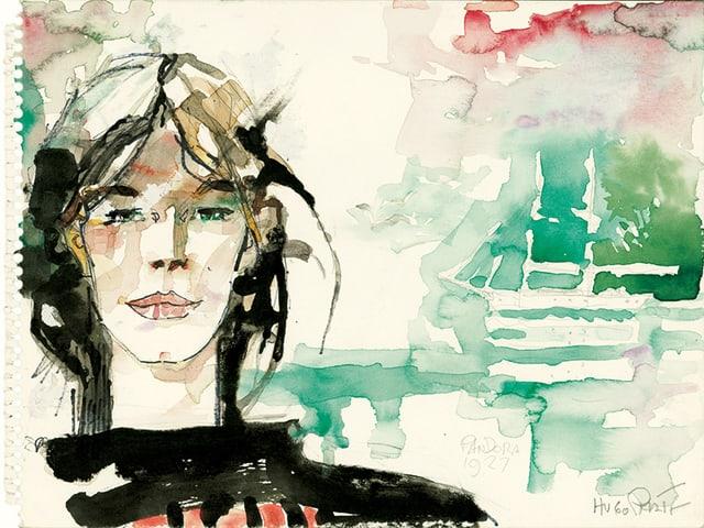 Ein Gemälde einer dunkelhaarigen Frau, die am Ufer steht - hinter ihr ein Schiff.