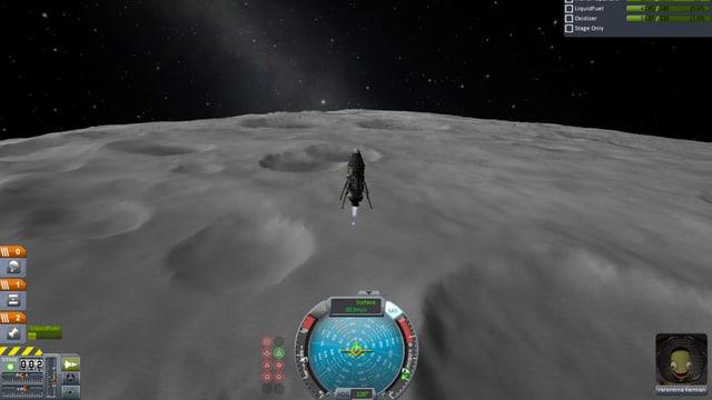 Total aufgeregt landet Valentina auf dem Mond.