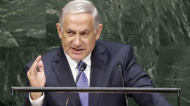 Netanjahu am Rednerpult der UNO-Vorllversammlung.