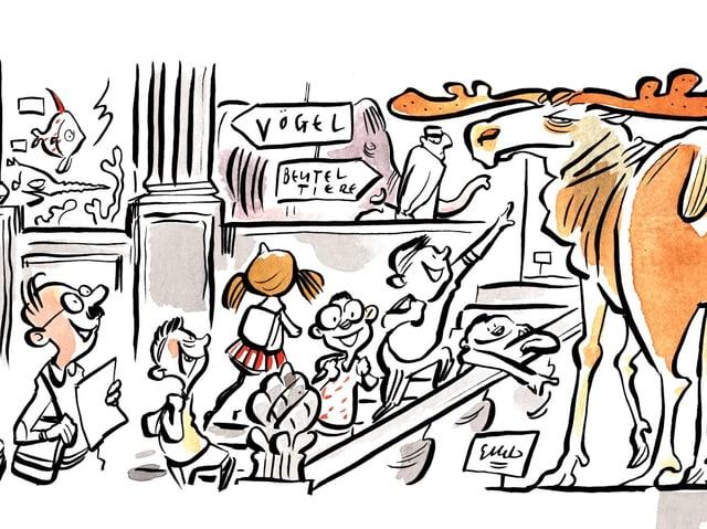 Zeichnung Kinder im Museum