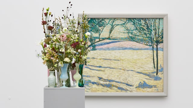 Florale Interpretation von Heidi Huber, Frauenfeld (Flowers to arts) zum Werk von Cuno Amiet, Winterlandschaft, 1907