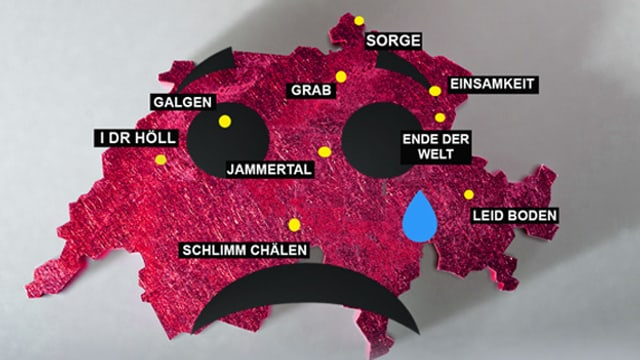 Schweizer Karte, auf der Orte mit traurigen Namen eingezeichnet sind