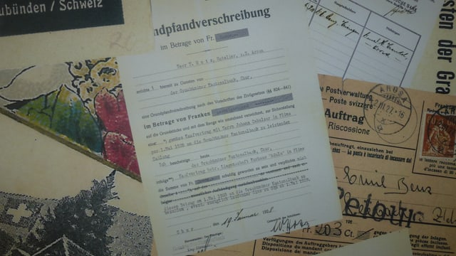 Il contract ipotecar tranter Walter Hotz e la Banca Chantunala Grischuna dal 1928.