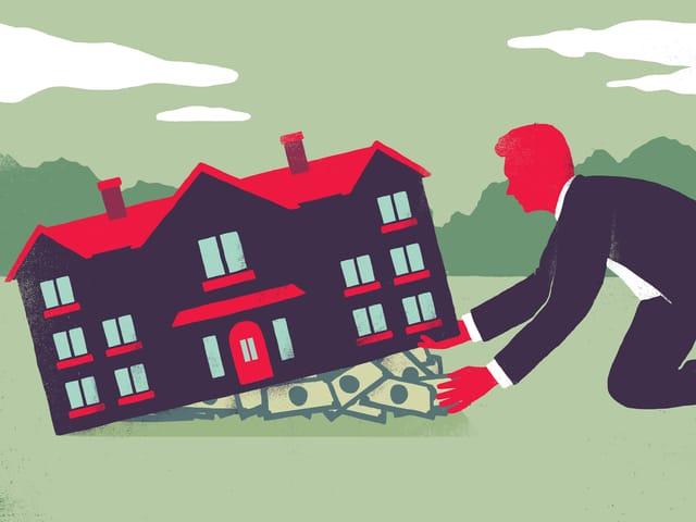 Die Grafik zeigt einen Mann, der Geld unter das Fundament eines Hauses schiebt.