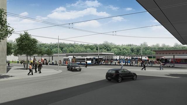 Visualisierung des geplanten Bushub in Ebikon - mit Bus Menschen und Autos