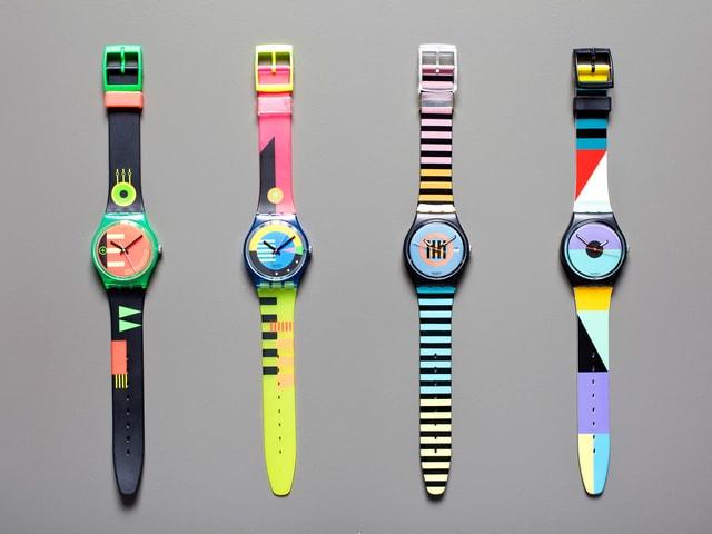 Bunte Swatch-Uhren von Robert-Durrer 1983-89.