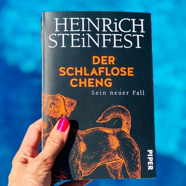 """Annette König hält den Krimi """"Der schlaflose Cheng"""" von Heinrich Steinfest vor blaues Wasser"""
