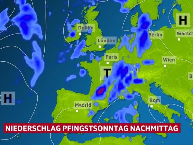 Mit blauen Flächen dargestellt Verteilung des Niederschlags in Europa.