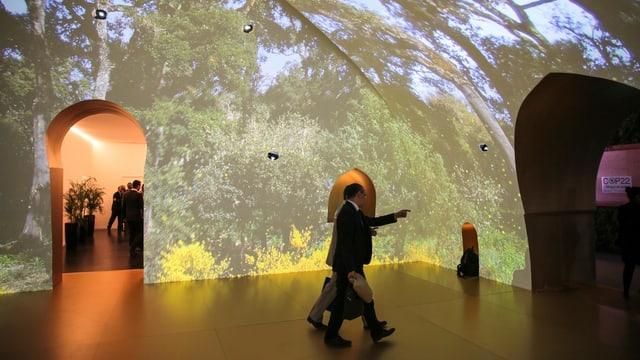 Ein mit Waldbildern projizierter Raum an der Klimakonferenz in Marrakesch.