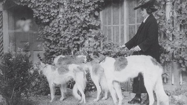 Madame de Meuron unterwegs mit ihren geliebten Windhunden.
