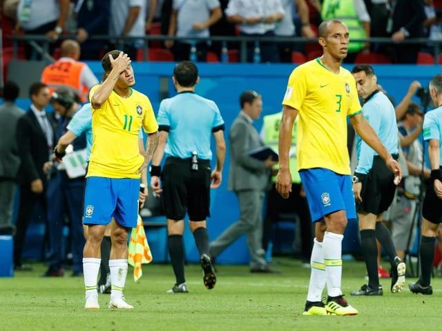 Traurige Gesichter bei den Brasilianern.