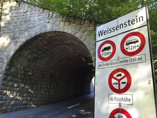 Tunnel mit Verbotstafel