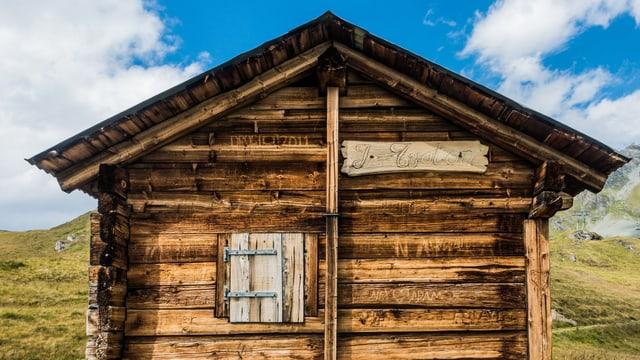 Eine Hütte steht auf einer Wiese unter blauem Himmel.