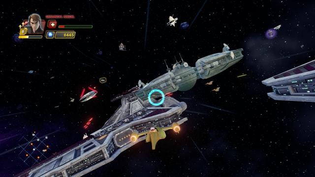 Blick aus dem Cockpit des wendigen aber etwas unterbewaffneten Naboo-Fighters.