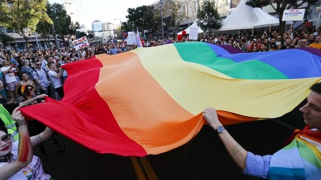 Purtret d'ina bandiera cun las colurs d'artg a la Pride en il Cosovo.