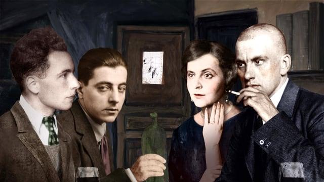 Bildcollage aus Fotos der vier Personen an einem Tisch, Wein trinkend.