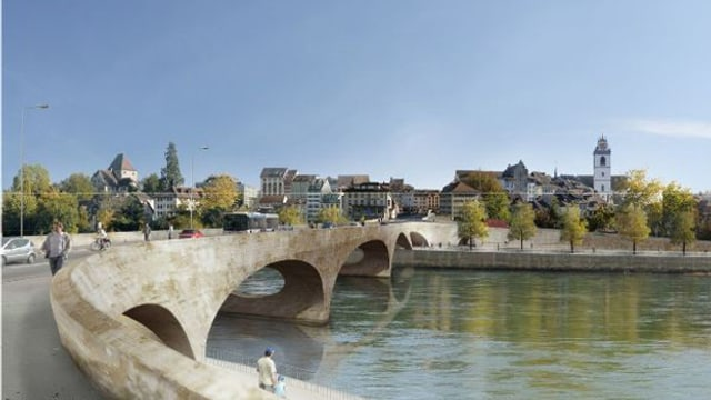 Visualisierung der neuen Brücke mit Blick auf die Aarauer Altstadt.